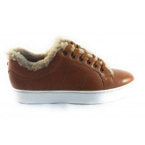 Sherry Tan Leather Lace-Up Trainer