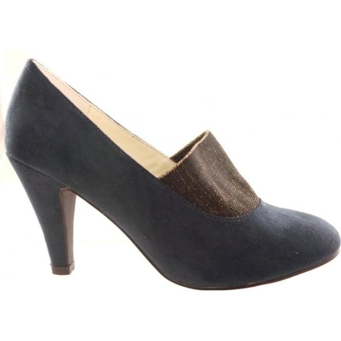 0e61ae7c34 Lotus Shine Navy Microfibre Round-Toe Court Shoe - Lotus from  size4footwear.com UK