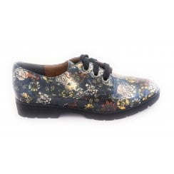 Shiny Green Floral Print Lace-Up Shoe