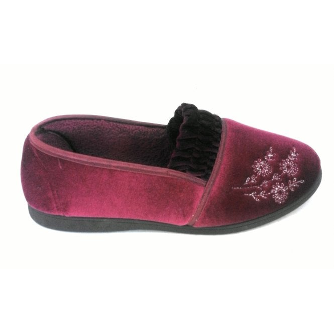 Lotus Shirley Raspberry Velour Slipper