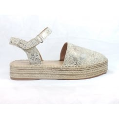 Silver and Beige Reptile Print Closed-Toe Sandal