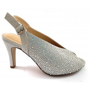 Lotus Silver Diamanté Sling-Back Court Shoe