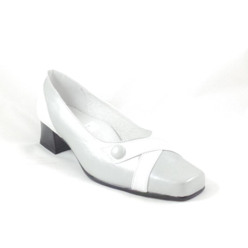 sandpiper silver grey and white leather court shoe