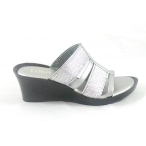 Silver Leather Open Toe Mule Sandal