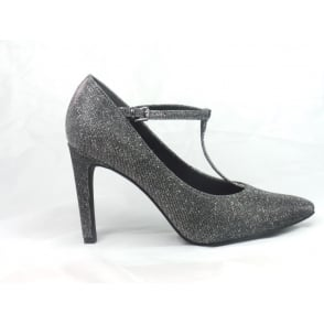 Silver Sparkle T-Bar Court Shoe