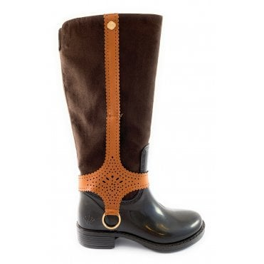 Size 3 Chocolate Brown and Tan Knee High Boot