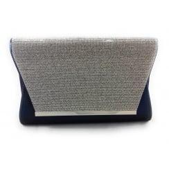Skylar Navy and Silver Diamante Clutch Bag