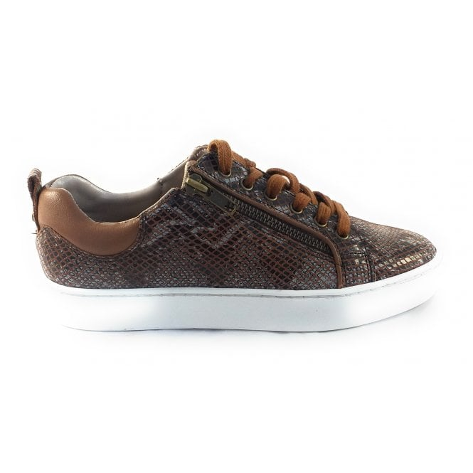 Lotus Snazzy Tan Snake Print Leather Trainer