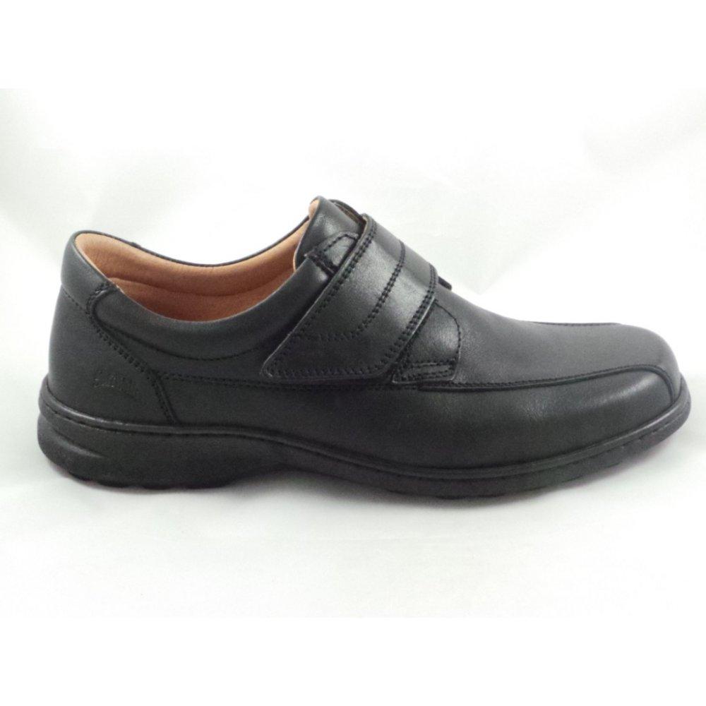 softwalk mens black leather slip on shoe with velcro
