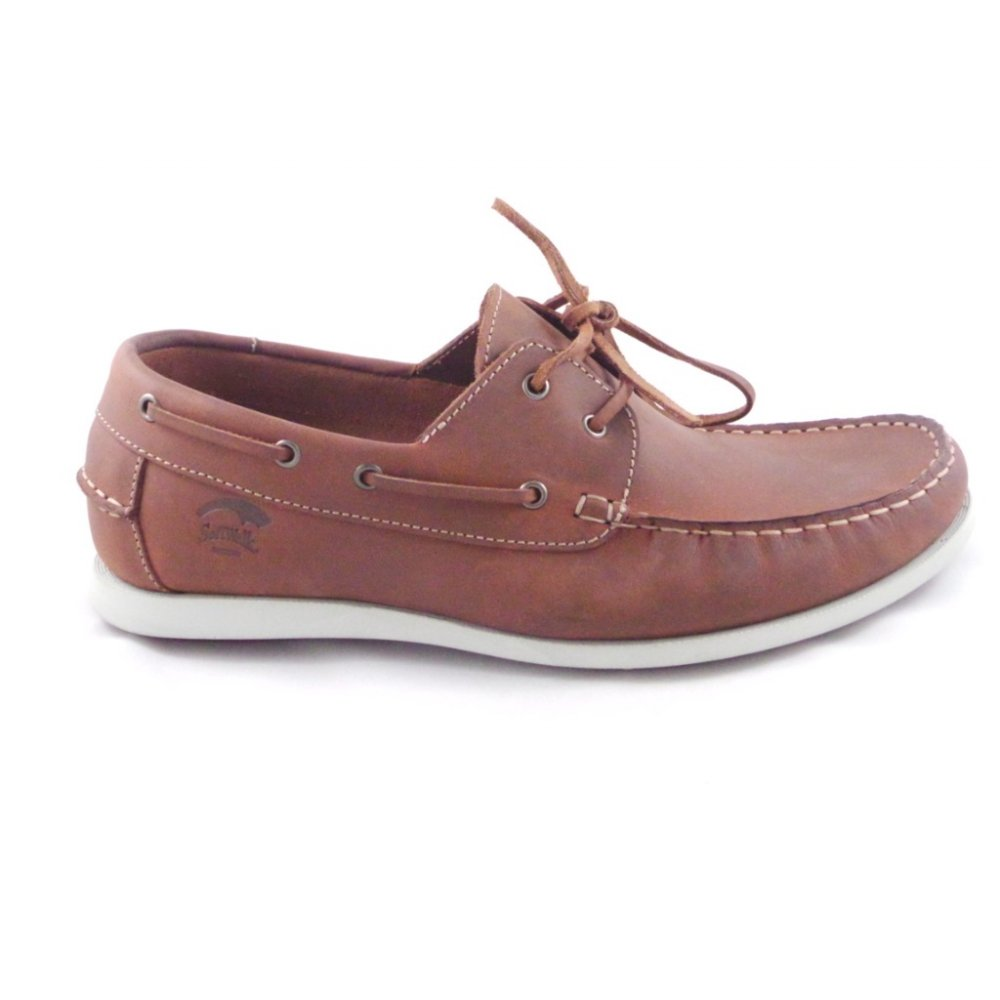 softwalk mens brown leather lace up casual boat shoe