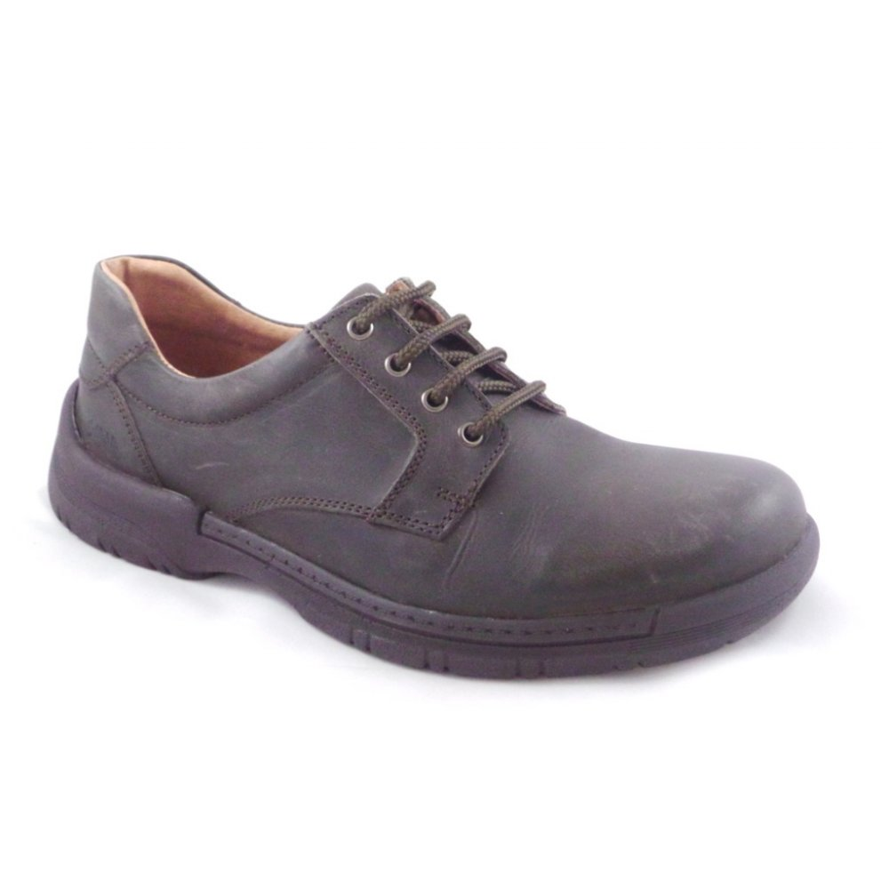 softwalk mens brown leather lace up casual shoe softwalk