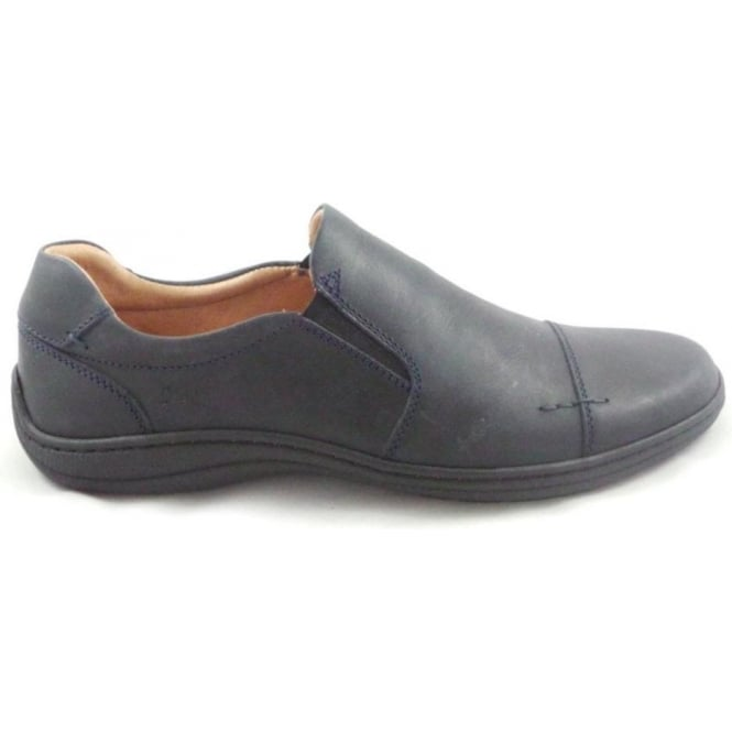 Softwalk Mens Navy Leather Slip-On Casual Shoe