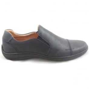 Mens Navy Leather Slip-On Casual Shoe