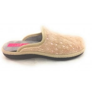 Sonic Beige Metallic Spot Slipper