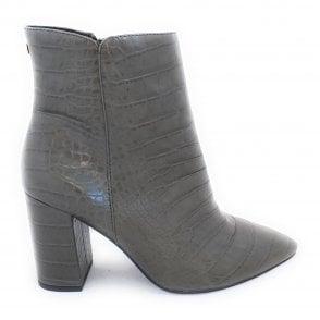 Soriano Khaki Croc Print Ankle Boots