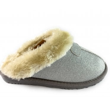 Sparkle Silver Mule Slipper
