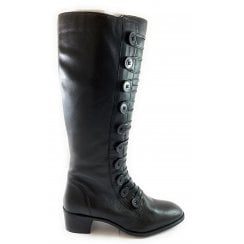 Spindle Black Leather Knee-High Boot