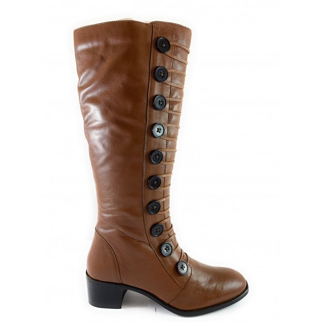 Lotus Spindle Tan Leather Knee-High Boot