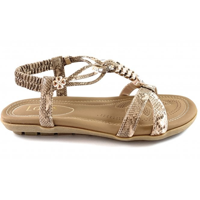 Lotus Stacey Natural Snakeprint Sandal