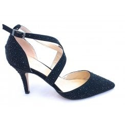 Star Black Diamante Court Shoe