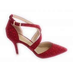 Star Red Diamante Court Shoe