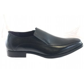 Stockton Black Leather Slip On Shoe