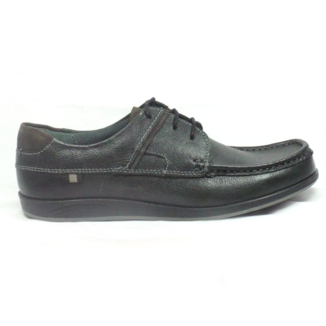 Lotus Streatley Black Leather Lace-Up Casual Shoe