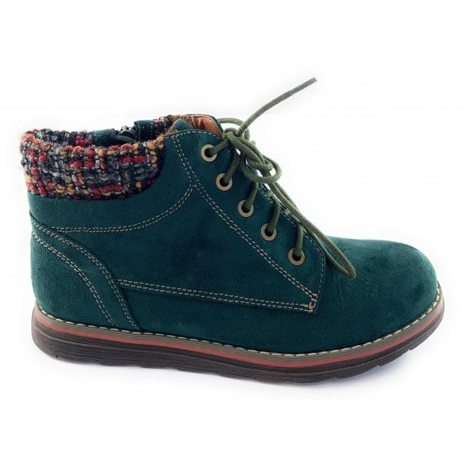 Lotus Sycamore Green Lace-Up Casual Ankle Boot