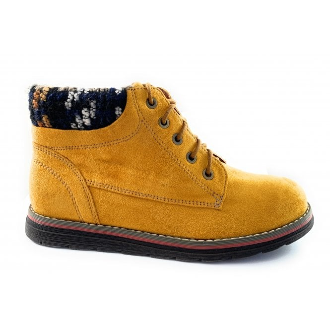 Lotus Sycamore Mustard Lace-Up Casual Ankle Boot