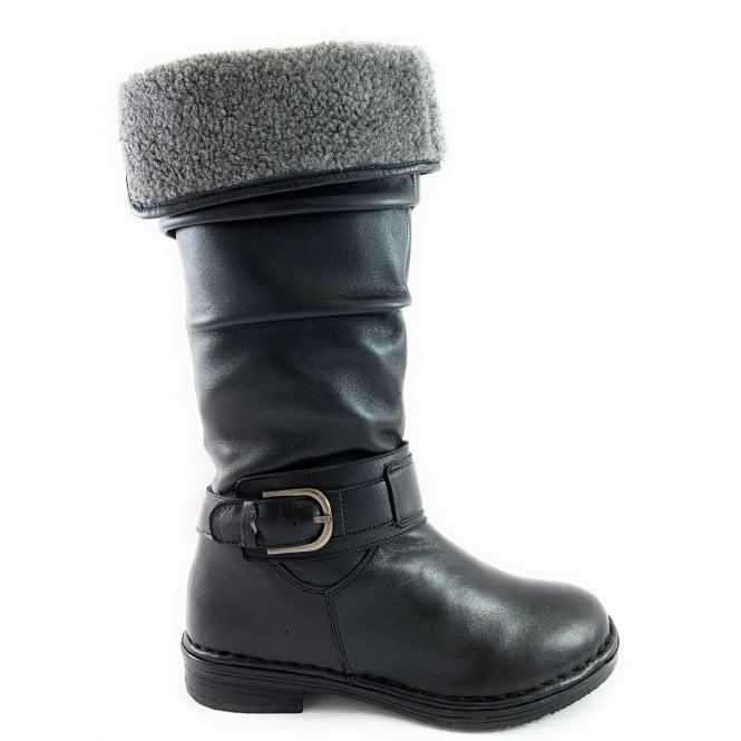 Lotus Talitha Black Leather Knee-High Boot