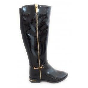 Tamzin Black Patent Knee High Boots