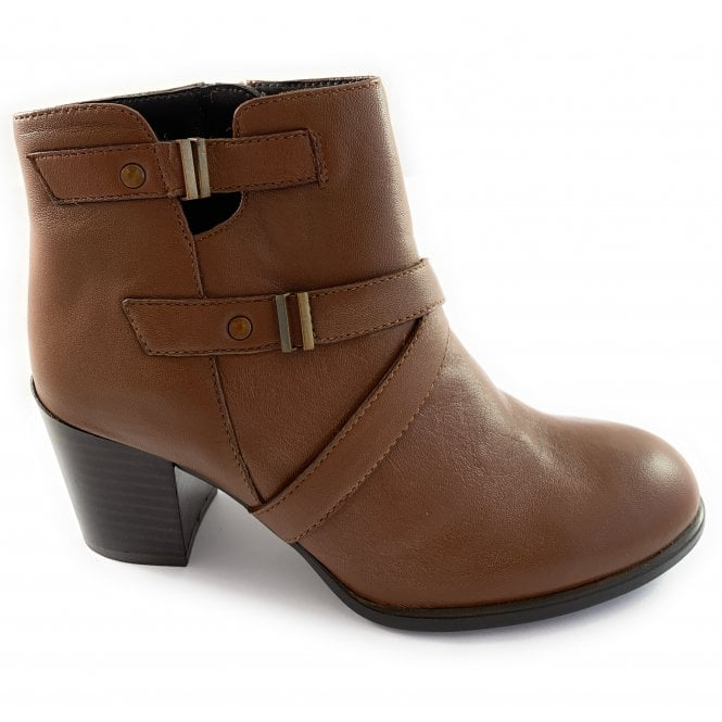 Lotus Tan Leather Ankle Boot
