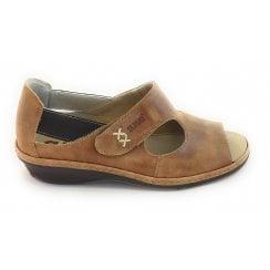 Tan Leather Closed Heel Sandal