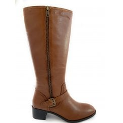 Tan Leather Knee-High Boot