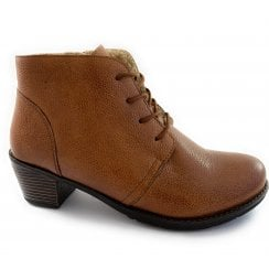 Tan Leather Lace-Up Ankle Boot