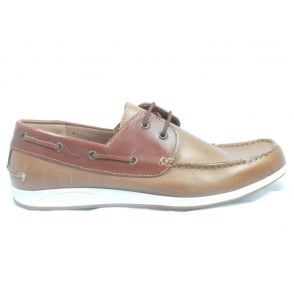 Tan Leather Mens Lace-Up Boat Shoe