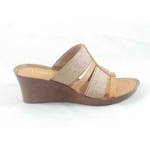 Tan Leather Open Toe Mule Sandal