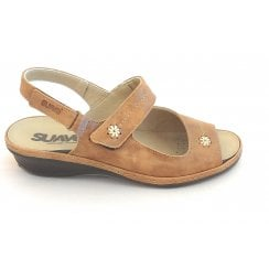 Tan Leather Wide Fit Sandal