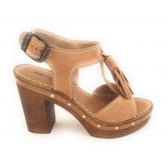 Tan Leather Wooden Platform Sandal