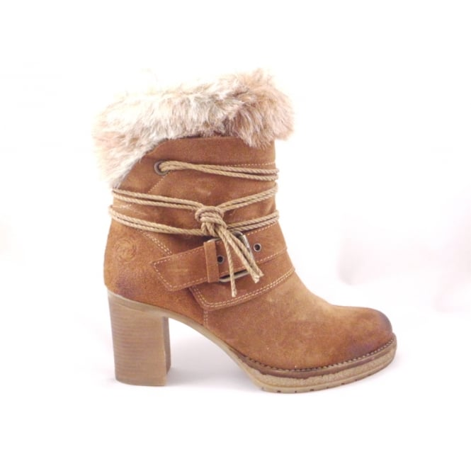 superior quality the latest new high Tan Suede Ankle Boot with Faux Fur Trim - from size4footwear.com UK