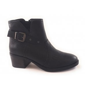 Tapti Black Leather Ankle Boot