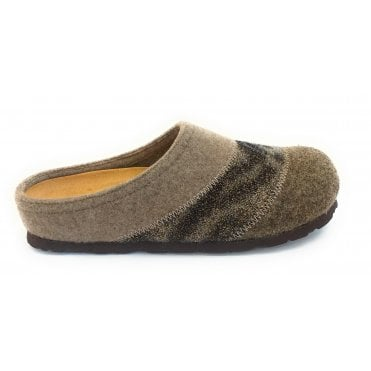 Taupe and Brown Mule Slippers