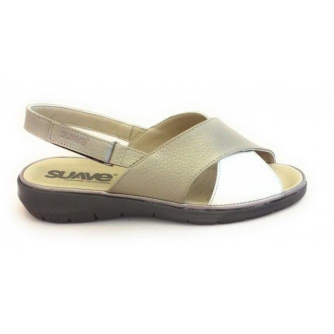 Suave Taupe and Gold Leather Open-Toe Sandal