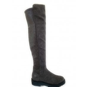 Taupe Faux Suede Sparkle Knee High Boots