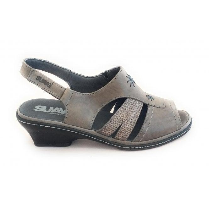 Suave Taupe Leather Open-Toe Sandal