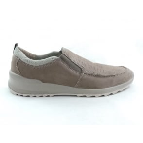 Taupe Leather Slip-On Casual Shoe