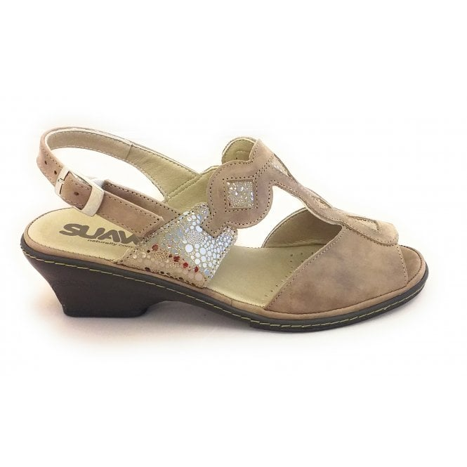 Suave Taupe Leather Wide Fit Sandal