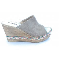 Taupe Suede Wedge Mule