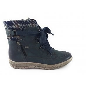 Teagan Navy Zip-Up Ankle Boot