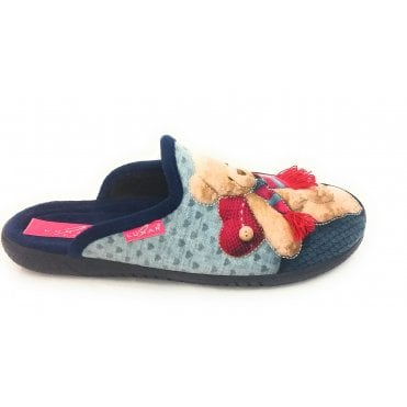 Ted Blue Mule Slipper
